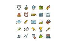 School Outline Color Icon Set.