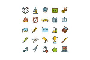 School Outline Color Icon Set.