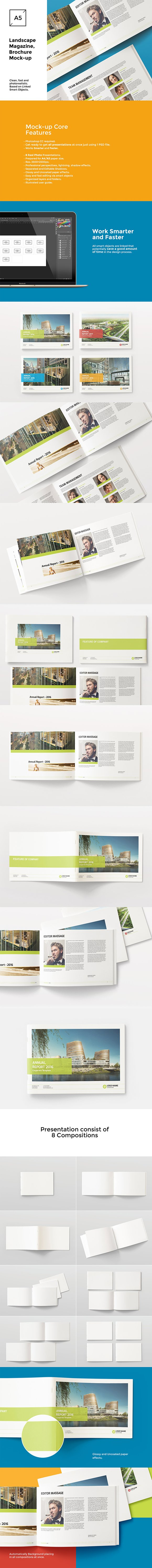 Download A5 / A4 Landscape Catalog Mockups