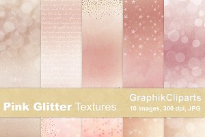 Pink Glitter Textures Paper Pack