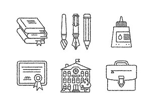 Sketched education iconset