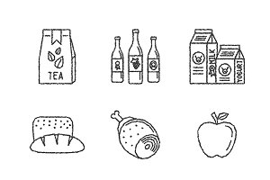 Sketched food iconset