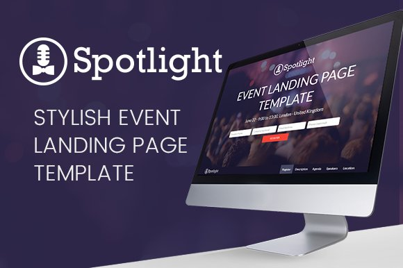 Spotlight - Event Landing Page ~ HTML/CSS Themes ~ Creative Market