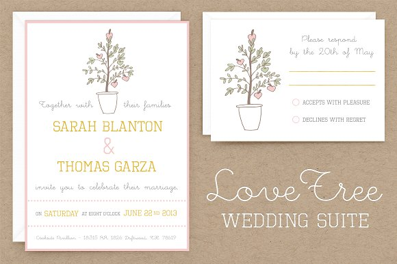 Wedding Invitation Suite Templates: LoveTree Wedding Invitation Suite