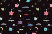 Sky Flying Fish seamless pattern