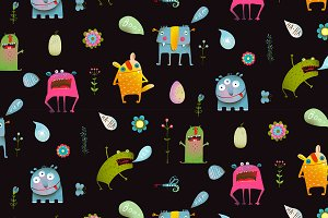 Monsters seamless pattern background