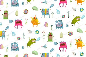 Seamless cartoon monster background