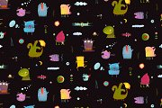 Colorful monsters seamless pattern
