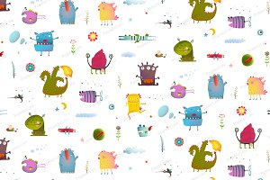 Kids Monsters seamless pattern