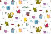 Kids Monsters seamless pattern