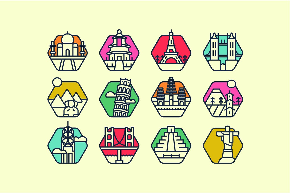12 Landmark icon pack! in Graphics - product preview 8