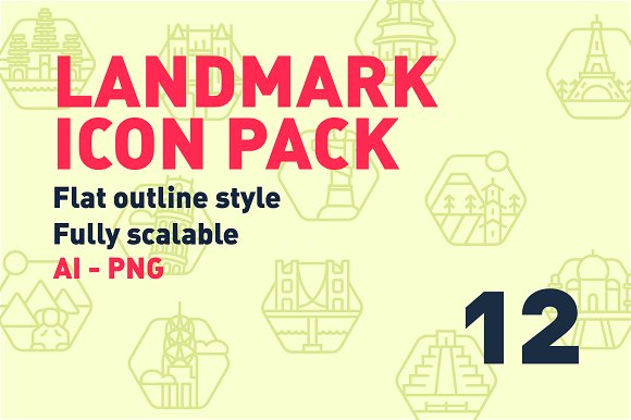 12 Landmark icon pack! in Graphics - product preview 1