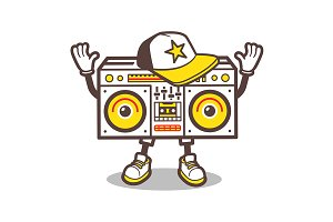Cartoon boom box character