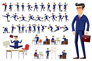 cartoon businessman in blue suit