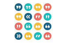 Quote marks flat circle vector icons