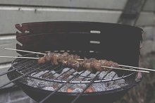 Chicken kebab on barbecue