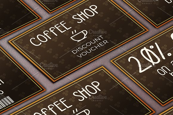 Coffee Shop Discount Voucher Card Templates on Creative Market – Shop Discount Vouchers