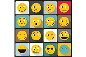 Emoticon icons set, flat style