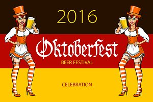 oktoberfest bavarian girl. vector