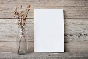 blank book cover on wood table