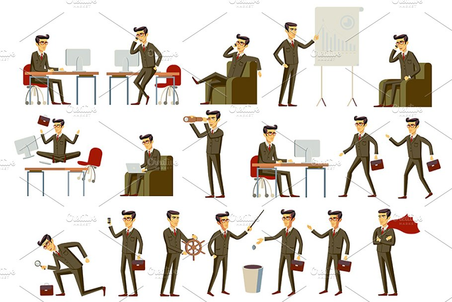 businessman in gray and brown suit in Graphics - product preview 8