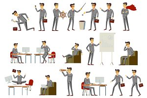 Set of business people vector art