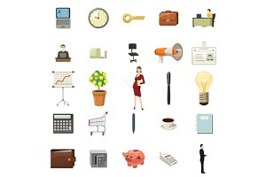 Office icons set, cartoon style