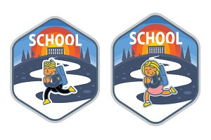 Vector school sticker