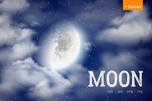 Moon and night sky vector set