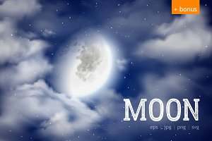 Moon and night sky vector set