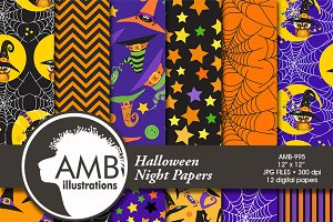 Halloween Digital Papers 995