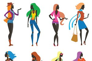 Fashion girls cartoon people vector