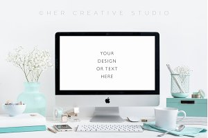 Styled Desktop Turquoise and White