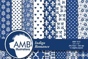 Indigo Wedding Digital Papers 1015
