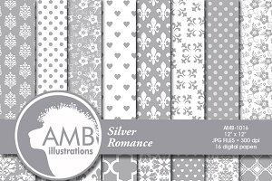 Silver Wedding Digital Papers 1016