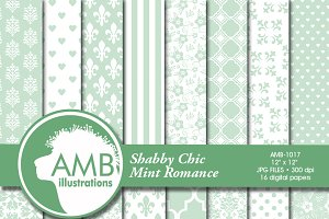 Mint Wedding Digital Papers 1017