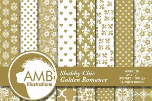 Gold Wedding Digital Papers AMB-1018