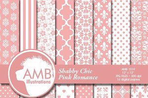 Pink Wedding Digital Papers 1019