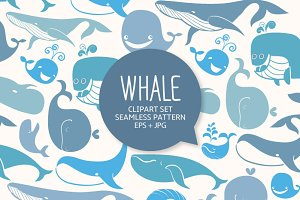 Whales. Clip Art & seamless pattern