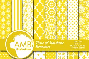 Lemon Wedding Digital Papers 1020