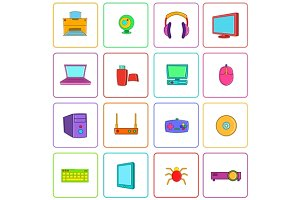 Computer icons set, pop-art style