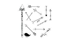Black ink handdrawn tribal arrows
