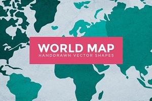 World Map Handdrawn Vector Shapes