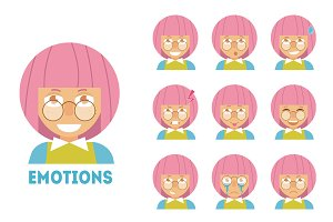 Girl with pink hair. Emotions