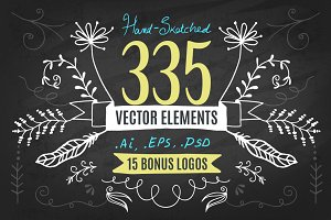 Hand-Drawn Vector Kit + 15 Logos