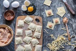 Ingredients for cooking ravioli
