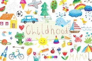 vector childhood doodle set