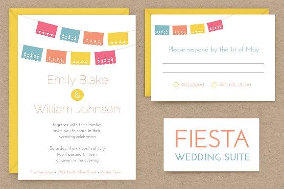 Fiesta Wedding Invitation Suite Invitation Templates Creative Market