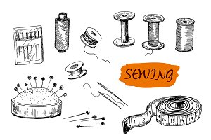 Sewing set. Hand drawn graphic