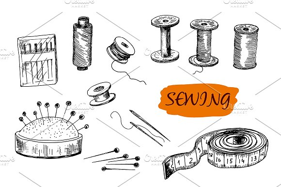 Sewing set. Hand drawn graphic - Graphics